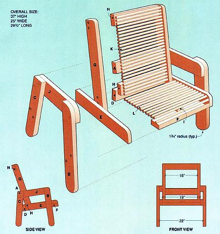 Deck chair plans - woodworking plan