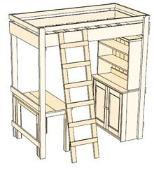 Kid's Bunk Bed with Desk plans