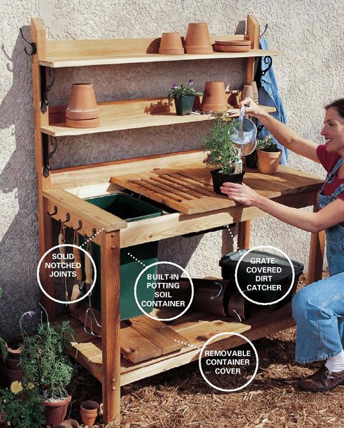 Cedar potting bench plans woodwork city free woodworking for Garden potting bench designs