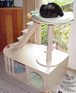Free furniture plans cat tree woodworker magazine for Condo plans free