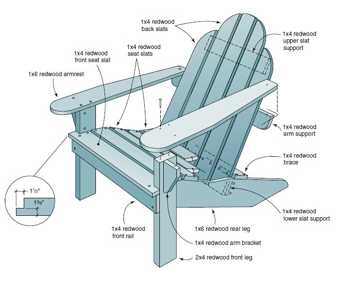 adirondack chair plans redwood