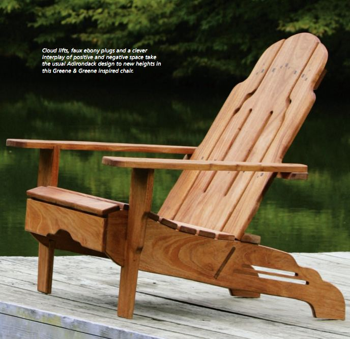 Greene and greene style adirondack chair plans free for Adirondack chaise
