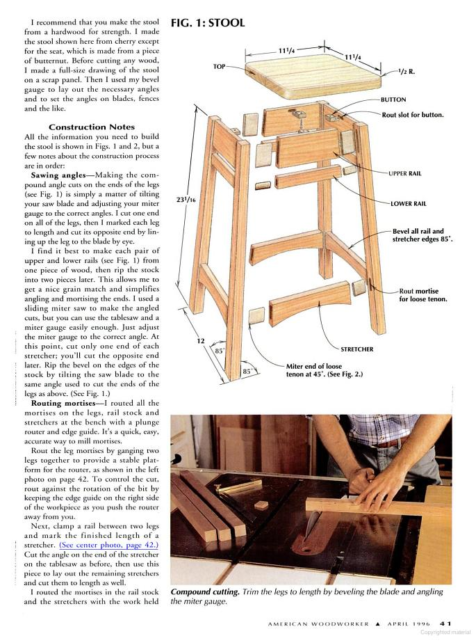 The plans come from American Woodworker Magazine (April 1996 issue). The full plan images and article can be found after the jumpClick on the images to ...  sc 1 st  Woodwork City Free Woodworking Plans & Free Bar Stool Plans - Woodwork City Free Woodworking Plans islam-shia.org