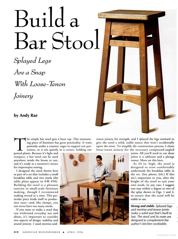 Woodworking plans bar stools woodideas