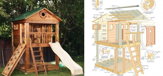 Amazing kids playhouse plans free woodwork city free for Simple outdoor playhouse plans