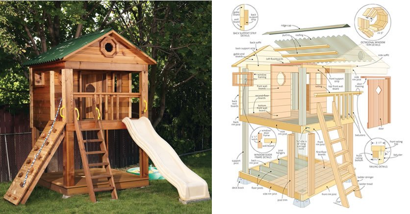 Amazing kids playhouse plans free woodwork city free for Blueprints for playhouse