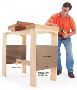 folding work table bench plans