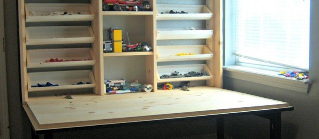 Flip down kids play cabinet plans