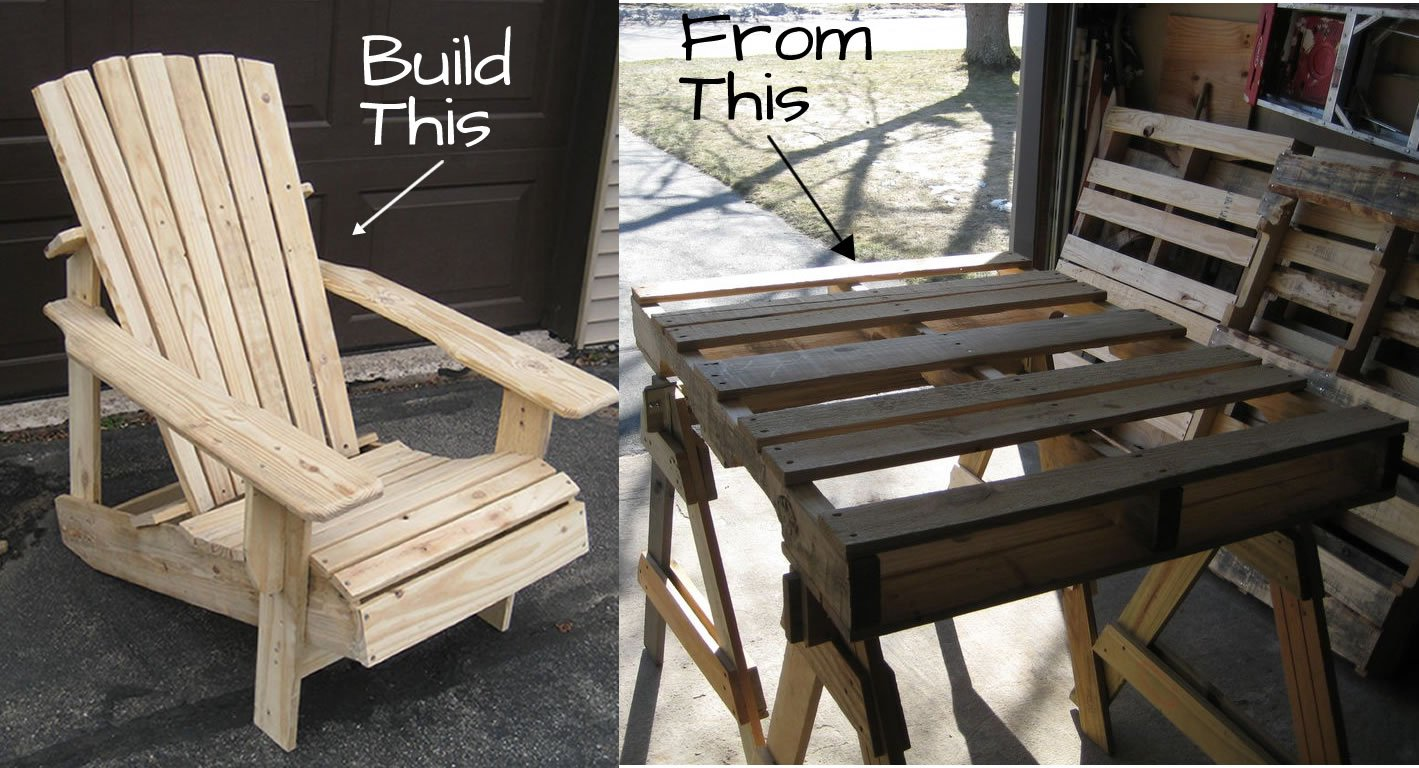 Pallet adirondack chair plans woodwork city free for Pallet furniture designs