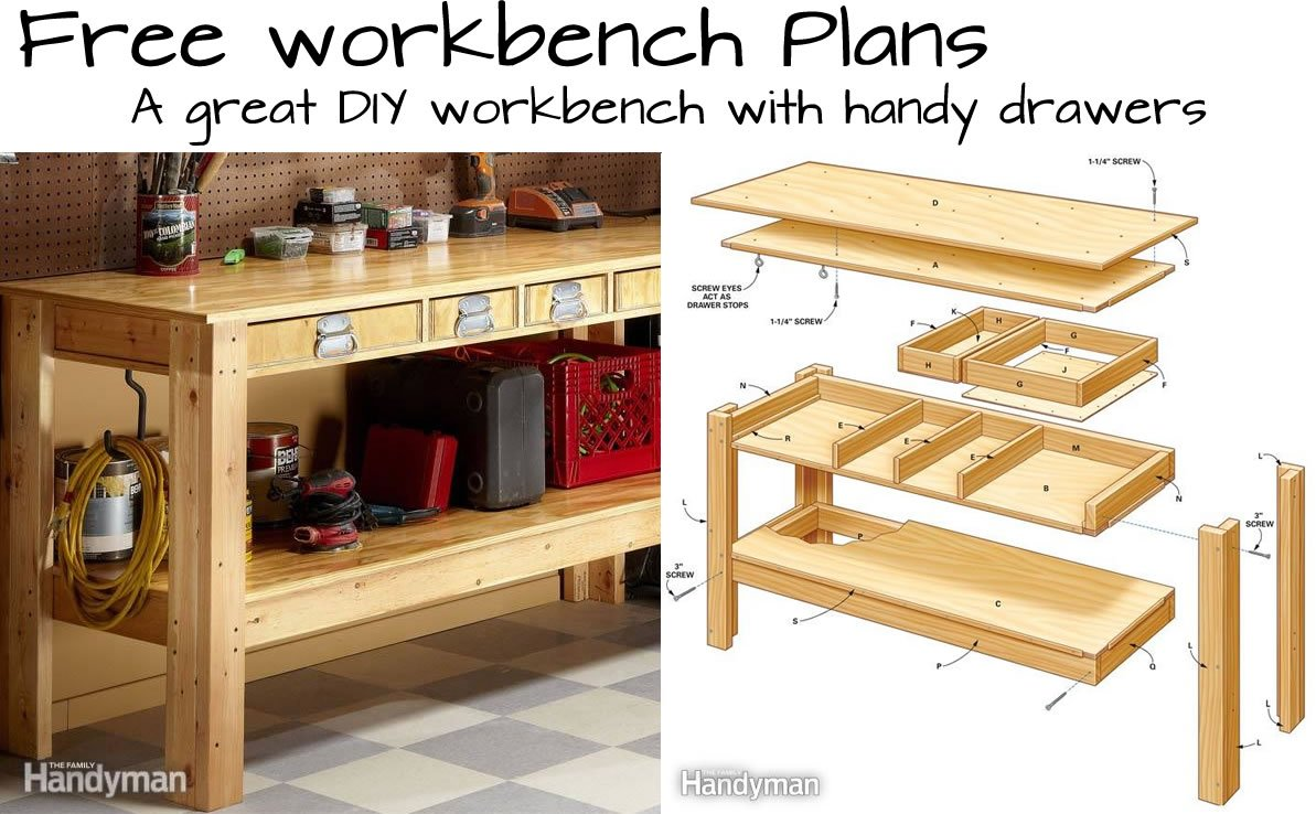 Build this Simple Workbench With Drawers   Woodwork City Free Woodworking  PlansBuild this Simple Workbench With Drawers   Woodwork City Free  . Free Plans Building Wood Workbench. Home Design Ideas