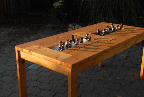 Plans for a patio table with built in beer wine coolers for Wooden beer cooler plans