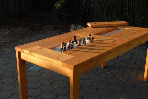 Plans for a patio table with built in beer wine coolers for Domesticated engineer table