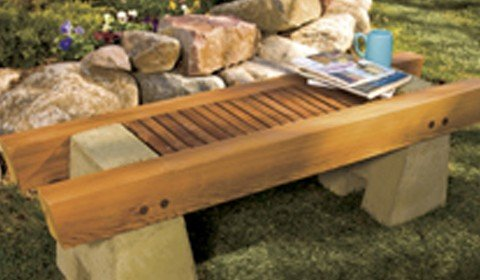 Concrete and Wood Garden Bench Plan