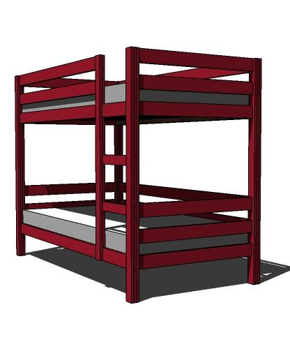 Simple bunk bed plans few tools stock lumber woodwork Loft bed plans