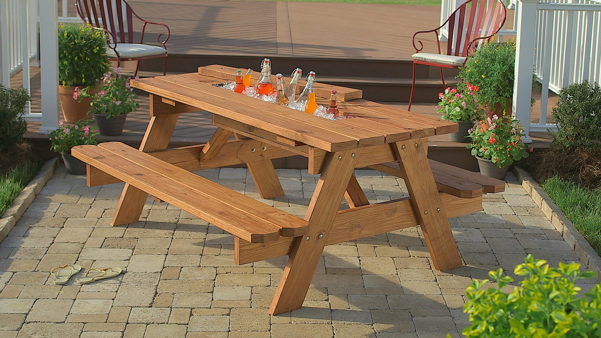 How to Build a Picnic Table with Built-in Cooler - Woodwork City Free ...