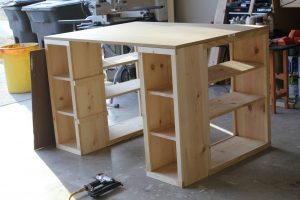 build a desk from shelves